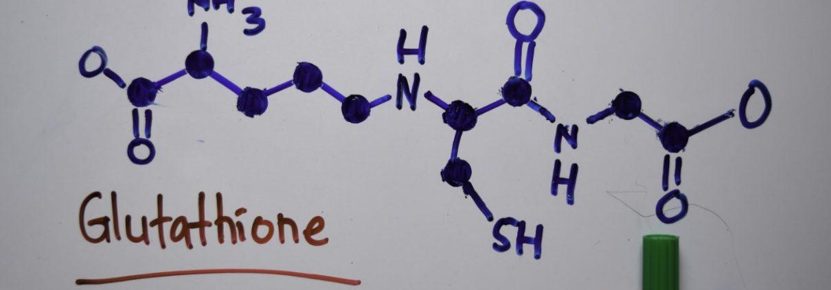 Liposomal Glutathione molecular diagram on whiteboard